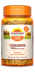 Sundown Cinnamon Capsules, 1000mg, 200 Count