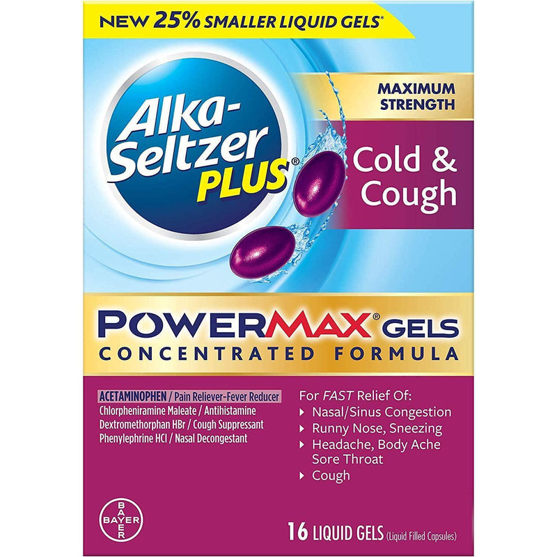 Alka-Seltzer Plus Maximum Strength Powermax Liquid Gels, Cold & Cough, 16 GELS IN ONE BOX