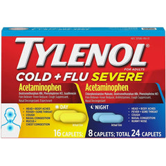 Tylenol Cold + Flu Severe Day & Night Caplets, 24 Count
