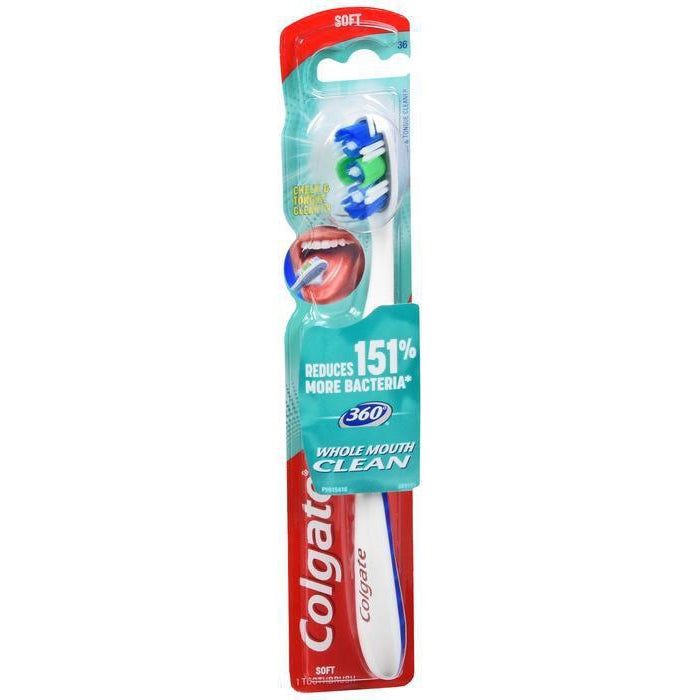 Colgate 360 Toothbrush with Tongue and Cheek Cleaner, Soft - 1 count