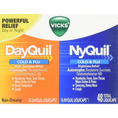 Vicks DayQuil Cold & Flu NyQuil Cold & Flu Combo Pack 48 Liquicaps