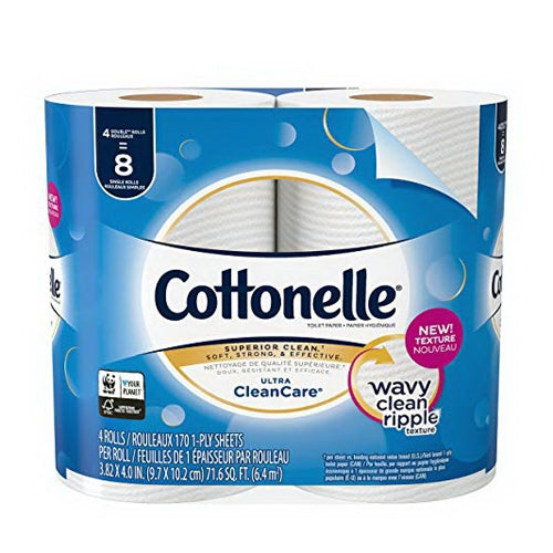 Cottonelle Superior Clean Toilet Paper, 4 Double Rolls, 1 Pack