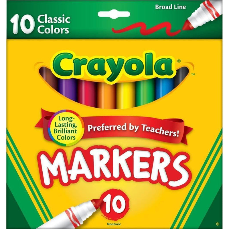 Crayola Broad Line Markers, Classic Colors, 10 Count