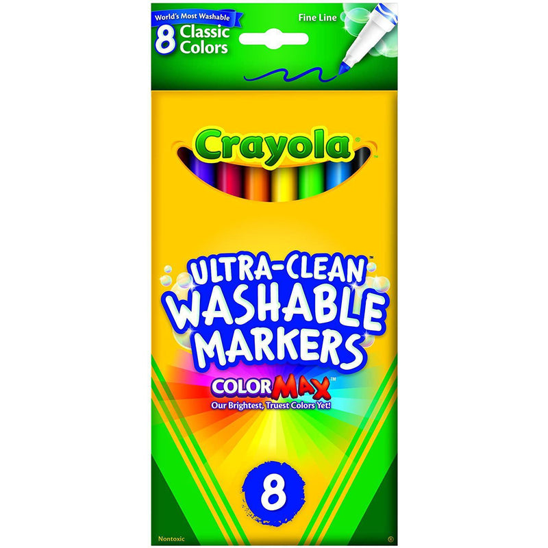 Crayola Ultra-Clean Fine Line Washable Markers, Classic Colors, 8 Pack
