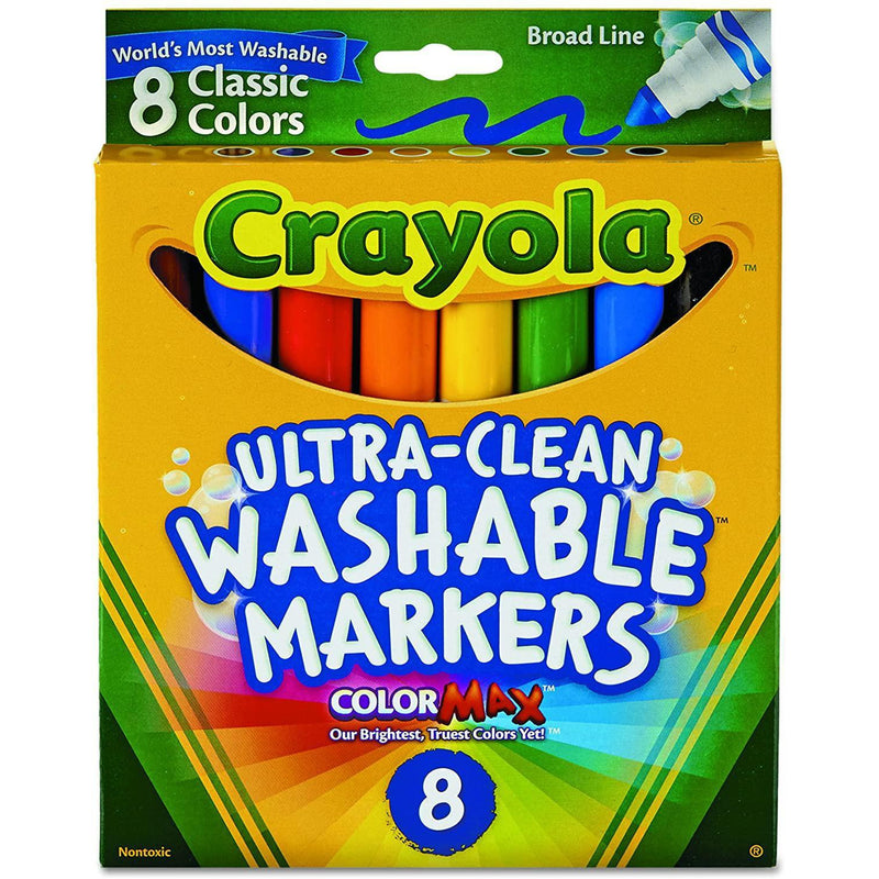 Crayola Broad Point Washable Markers, 8 Count