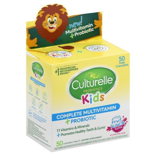 Culturelle Kids Complete Multivitamin + Probiotic Chewable, Fruit Punch Flavor - 50 count