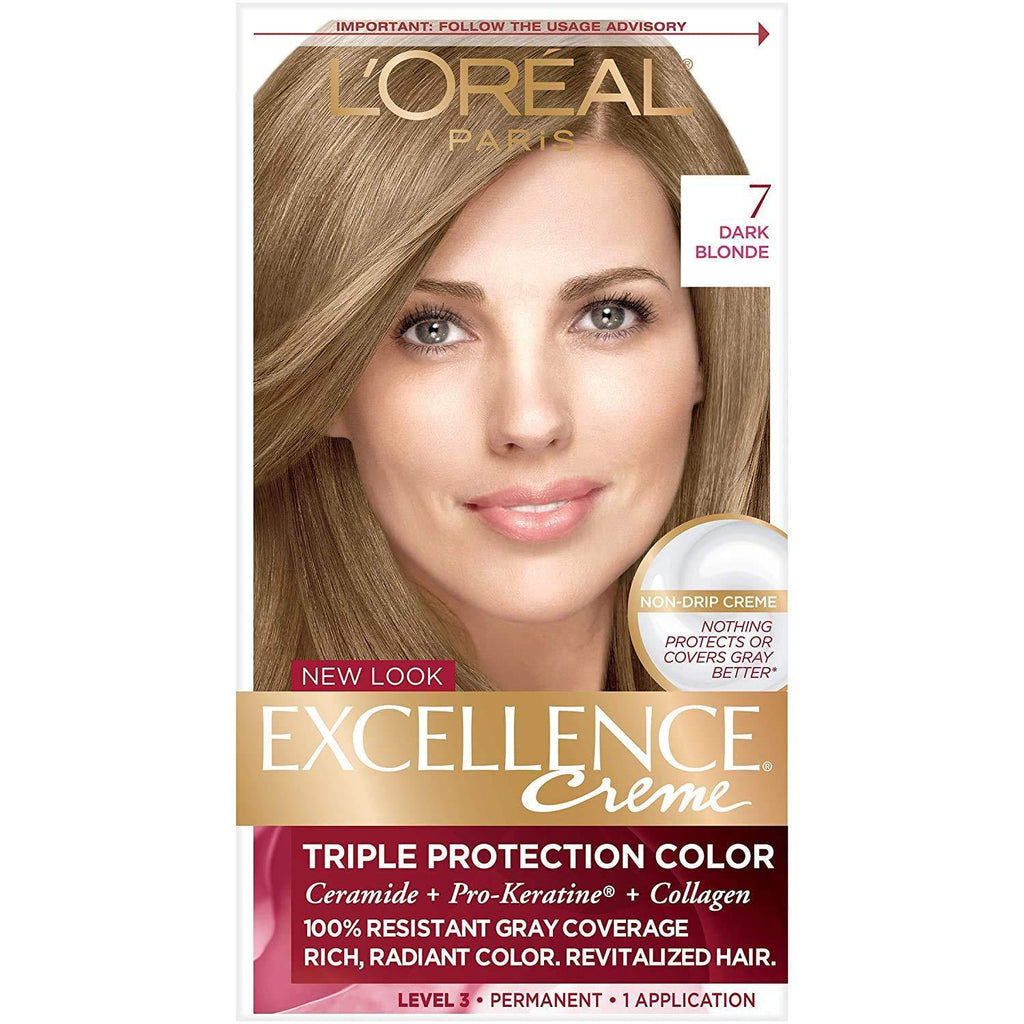 L'Oreal Excellence Triple Protection Permanent Hair Color Creme Dark Blonde [7], 1 COUNT