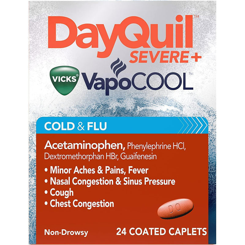 DayQuil SEVERE with Vicks Vapo COOL Daytime Cough, Cold & Flu Relief Caplets 24 Count