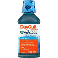 DayQuil Severe + Vicks VapoCOOL Daytime Cough, Cold & Flu Relief Liquid, 12 fl oz Bottle