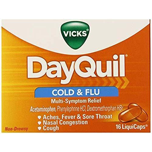 Vicks Dayquil Multisymptom Cold & Flu Relief Liquicaps, Non-Drowsy, 16 Count in one Box