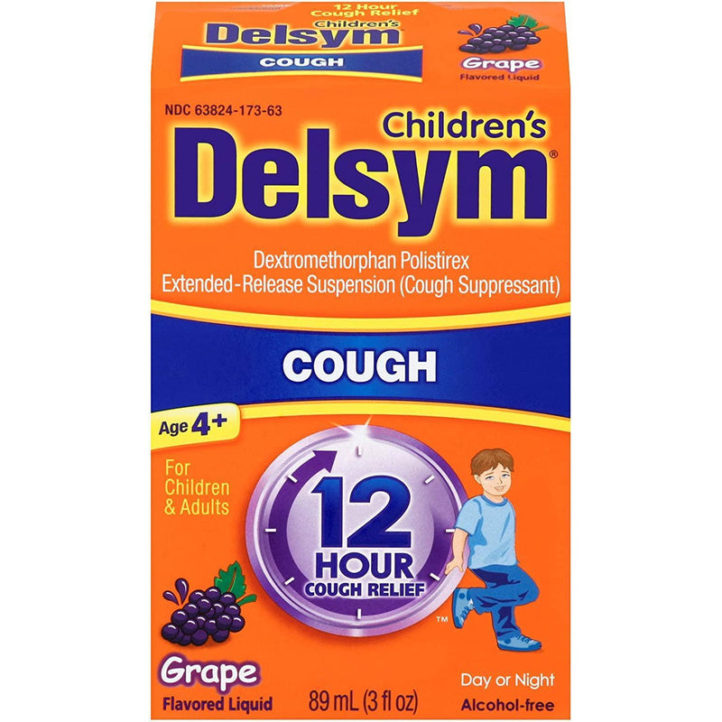 Delsym Cough Suppressant for Children and Adults, Grape, 3 Fl oz.
