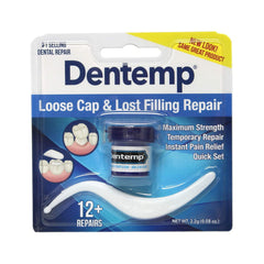 Dentemp Maximum Strength Lost Fillings and Loose Caps Repair, Instant Pain Relief, Dentist Used and Recommended, 12 uses, 0.07 Oz