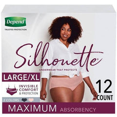 Depend Silhouette Incontinence Underwear for Women, Maximum Absorbency, Large/Extra-Large, Pink & Black, 12 Count