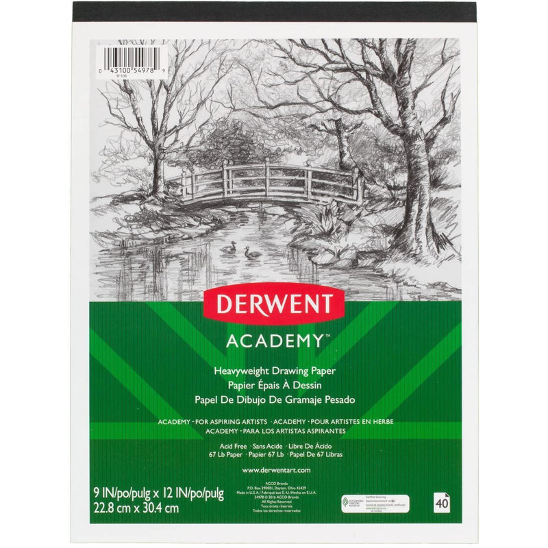 "Derwent Academy Drawing Paper Pad, 9"" x 12"", Heavyweight, 40 Sheets"