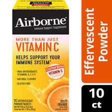 Airborne Immune Support On-The-Go Powder, Zesty Orange Flavor (10 Packets)