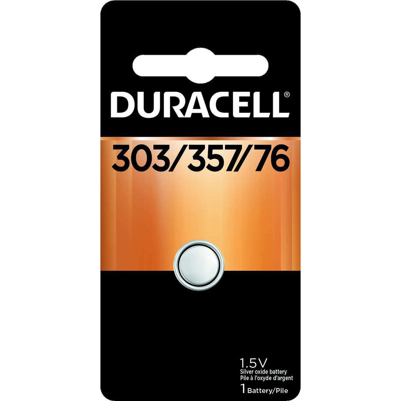 Duracell 303/357/76 1.5V Silver Oxide Button Battery, 1 Count