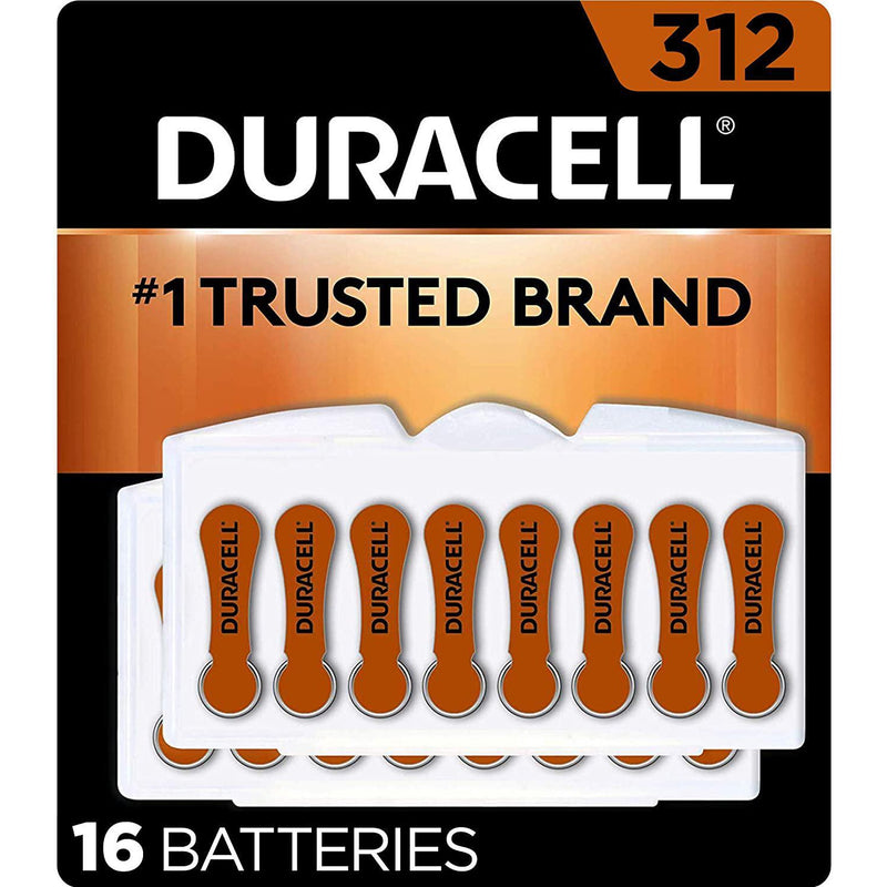 Duracell Hearing Aid Batteries Size 312, with EasyTab for Ease of Installation, 16 Count