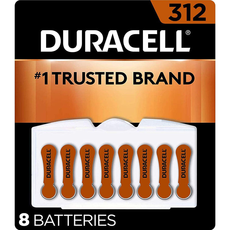 Duracell Hearing Aid Batteries Size 312, with EasyTab for Ease of Installation, 8 Count