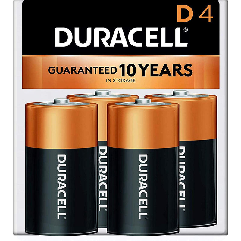 Duracell Coppertop D Batteries, Alkaline, 4 Pack