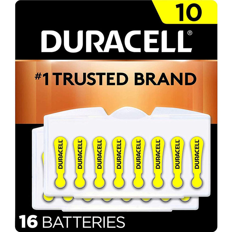 Duracell Hearing Aid Batteries Size 10, with EasyTab for Ease of Installation, 16 Count