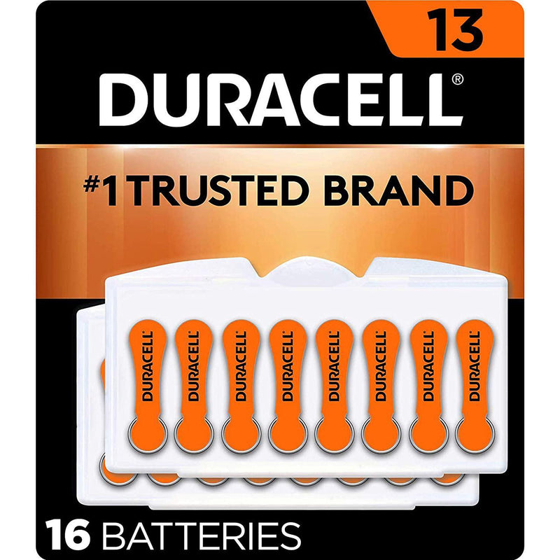 Duracell Hearing Aid Batteries Size 13, with EasyTab for Ease of Installation, 16 Count