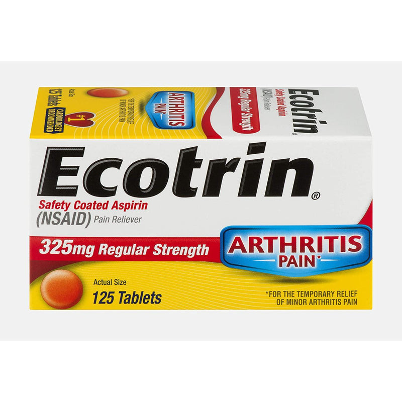 Ecotrin Regular Strength Pain Reliever, 125 Tablets