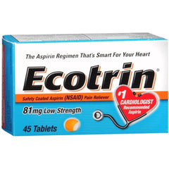 Ecotrin Low Strength Aspirin, 81 mg, Adult, 45 Tablets