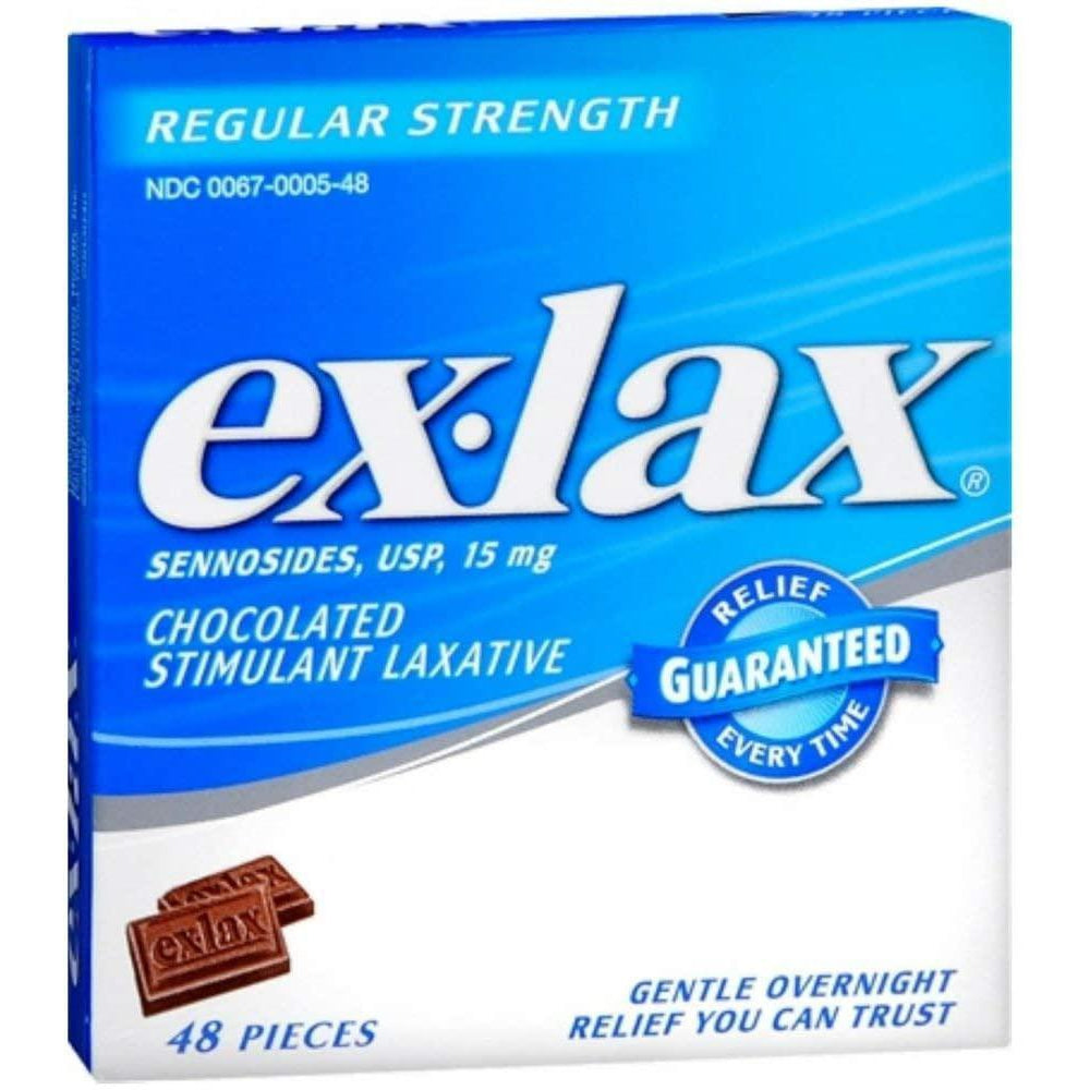 Ex-Lax Regular Strength Stimulant Laxative Chocolated Pieces - 48 count