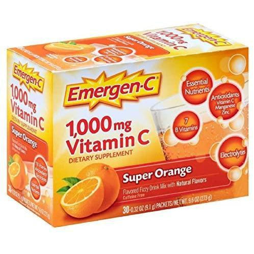 Emergen-C Vitamin C 1000mg Powder, Super Orange Flavor, 30 packets