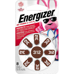 Energizer Hearing Aid Batteries Size 312, EZ Turn & Lock, 8 Pack