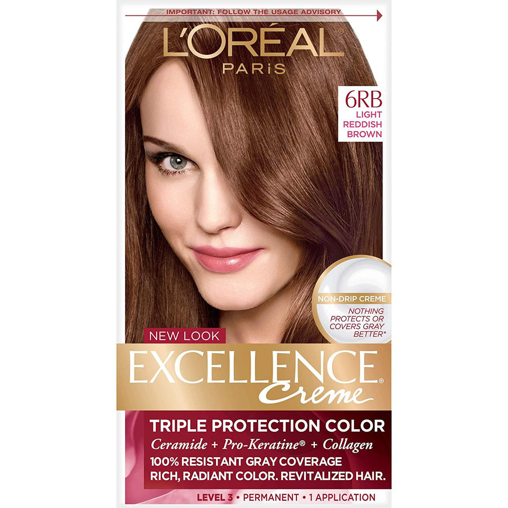 L'Oreal Paris Excellence Creme Permanent Hair Color, 6RB Light Reddish Brown, 1 COUNT
