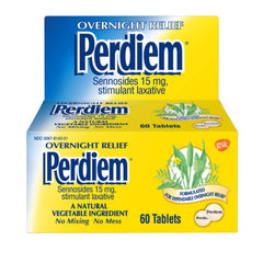 Perdiem Overnight Relief Sennosides 15 mg stimulant laxative - 60 Tablets - Value Pack of 6 Bottles