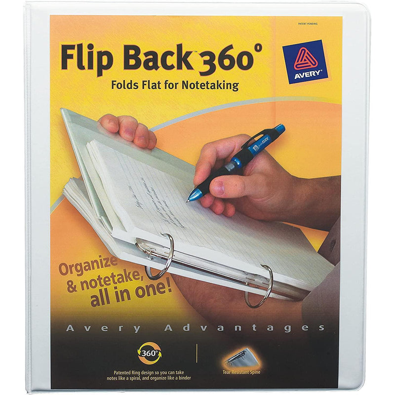Avery Flip Back 360 Degree Binder with 1 Inch Ring, White, 1 Count