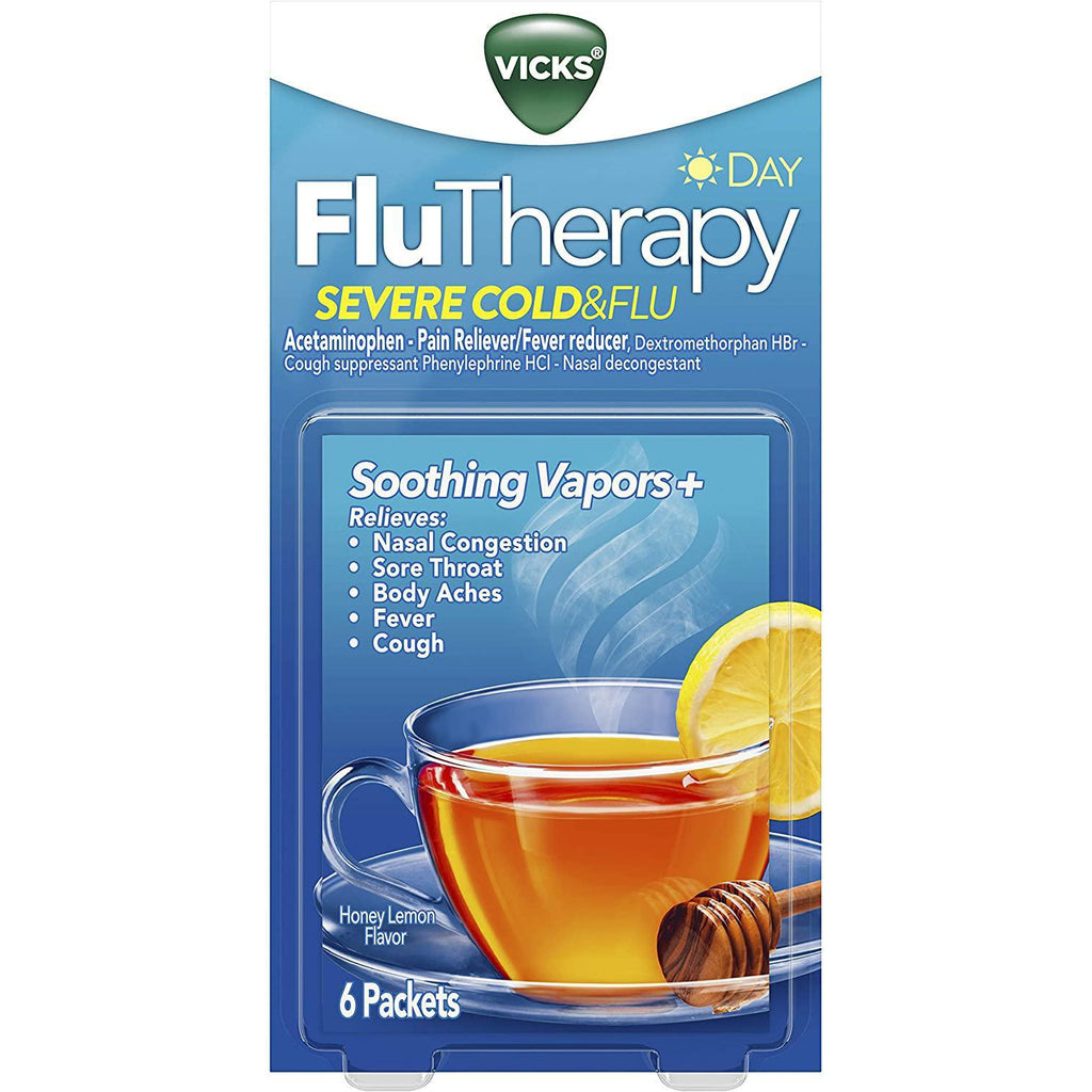 Vicks FluTherapy Severe Cold & Flu, Daytime, Honey Lemon 6 Packets