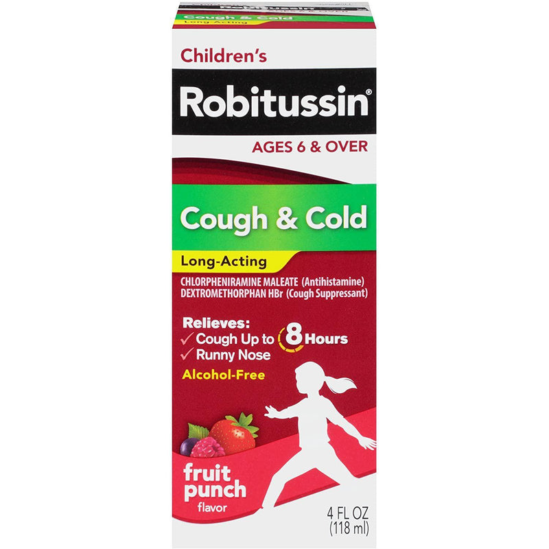 Robitussin Children's Cough & Cold Long-Acting Liquid Fruit Punch, 4 fl oz.