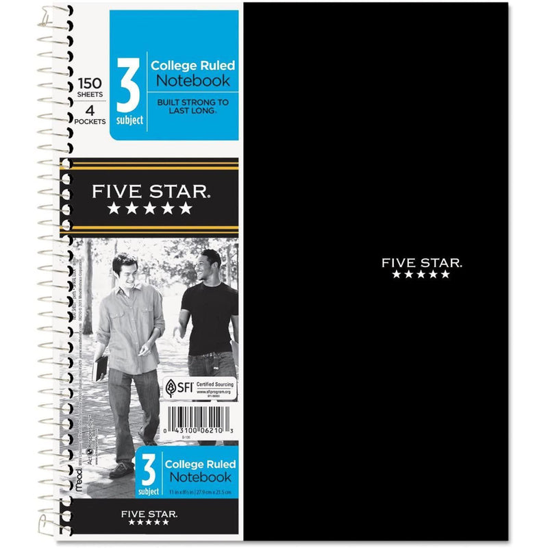 Five Star Spiral Notebook, 3 Subject, College Ruled Paper, 150 Sheets, Assorted Colors, 1 Count