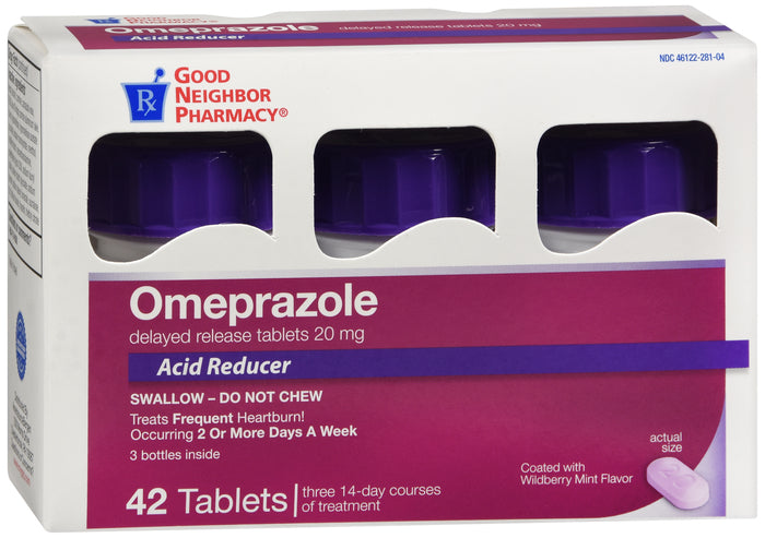 GNP Omeprazole Wildberry 20 mg Bottle - 42 count