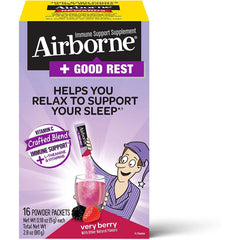 Airborne + Good Rest Very Berry Flavor, 16 Powder Packets
