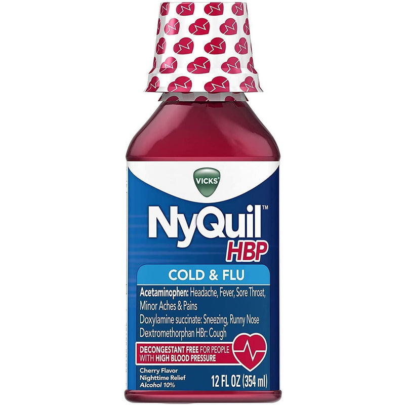 NyQuil Cough Cold & Flu Nighttime Relief for High Blood Pressure, 12 fl oz.