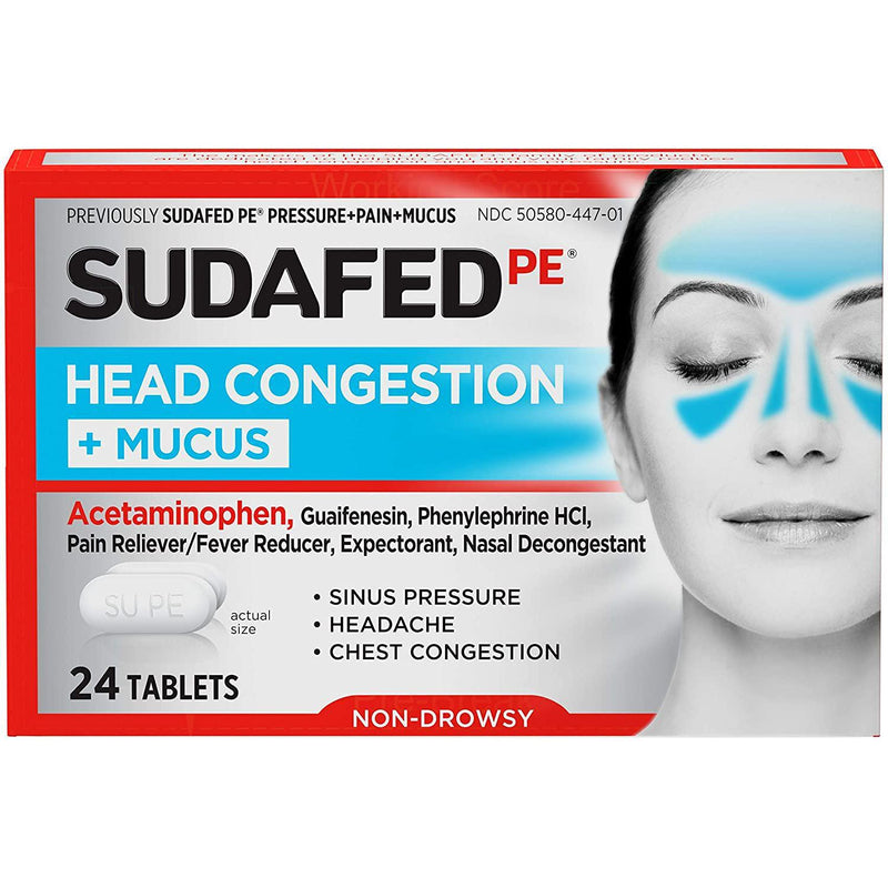 Sudafed PE Head Congestion + Mucus Tablets for Sinus Pressure, Pain & Congestion, 24 Tablets