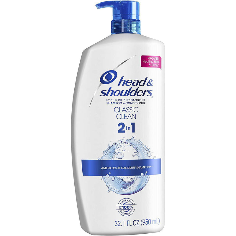 Head and Shoulders Classic Clean Anti-Dandruff 2 in 1 Paraben Free Shampoo and Conditioner, 32.1 fl oz