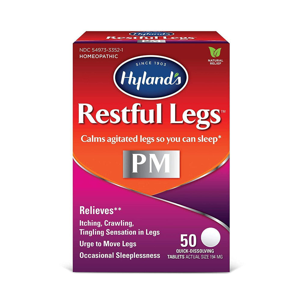 Hyland's Restful Legs Nighttime PM Tablets, Natural Itching, Crawling, Tingling and Leg Jerk Relief, 50 Count