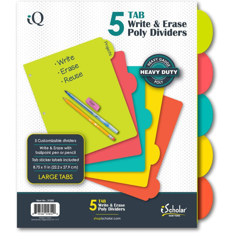 "iScholar 5 Tab Poly Index Dividers, 8.75 x 11"", Assorted Colors"