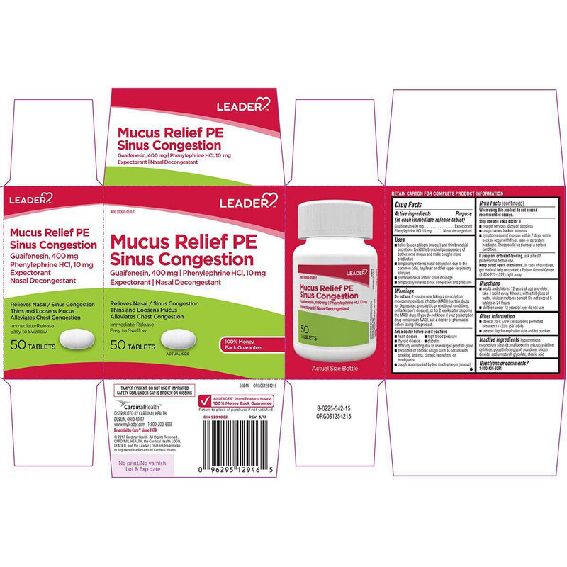 Leader Mucus Relief Pe Sinus Congestion, 50 Tablets