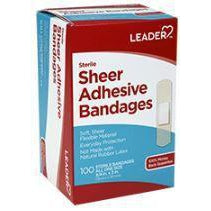 "Leader Sheer Adhesive Bandages, 3/4"" x 3"", 100 Count"