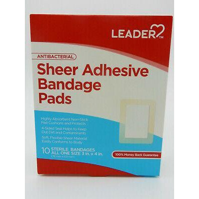 "Leader Antibacterial Sheer Bandages Pads, 3"" x 4 "", 10 Count"