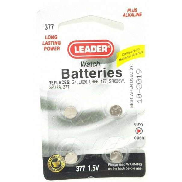 Leader 377 Watch Batteries, 4 Count