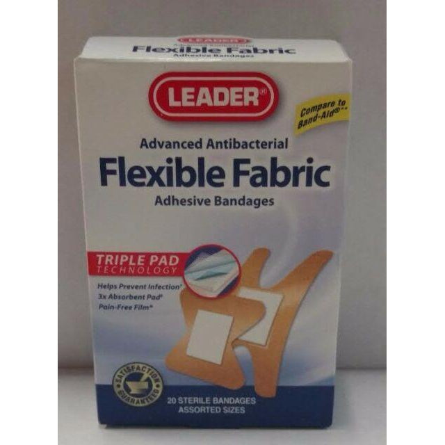 Leader Advanced Antibacterial Flexible Fabric Adhesive Bandages, Assorted Sizes, 20 Count