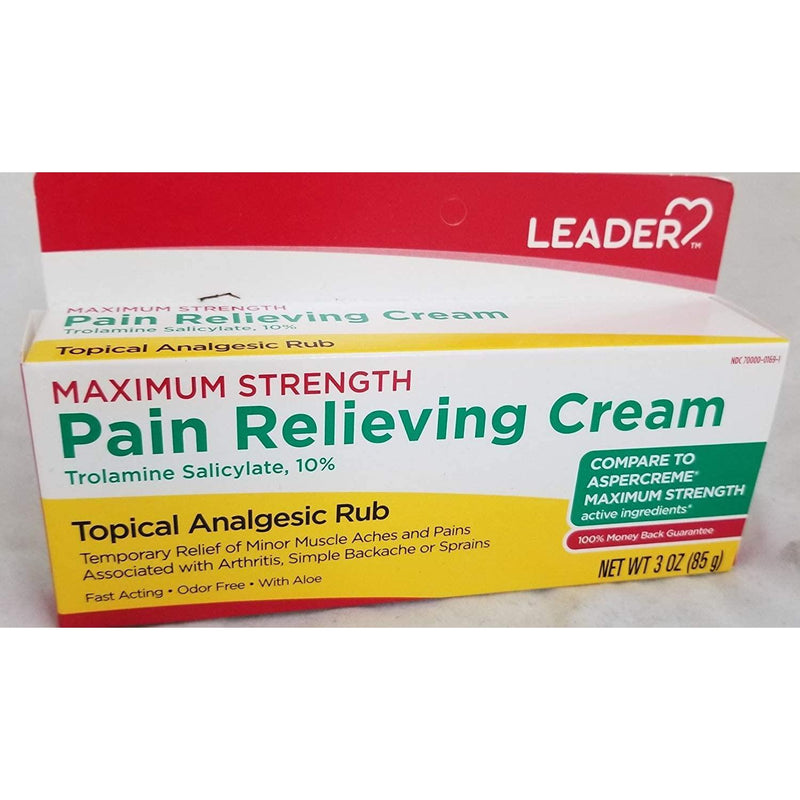 Leader Maximum Strength Pain Relieving Cream, 3oz.