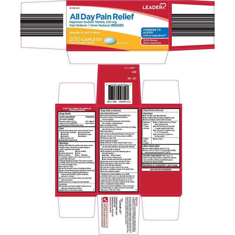Leader All Day Pain Relief Naproxen Sodium 220mg Caplets, 50 Count